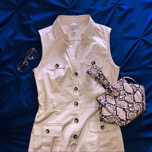 Khaki Button Down Sleeveless Dress